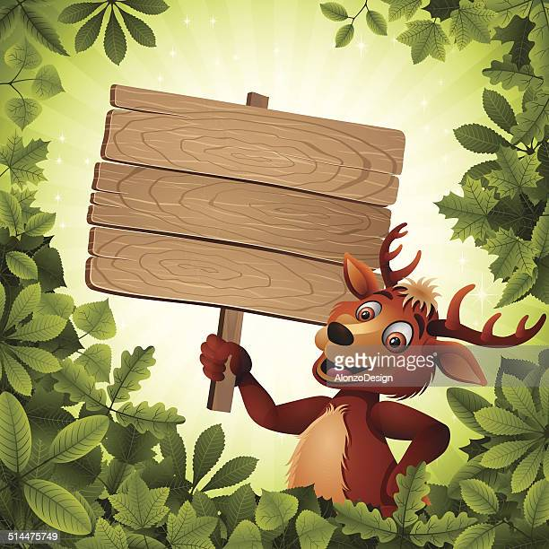 Deer holding a Wooden Sign