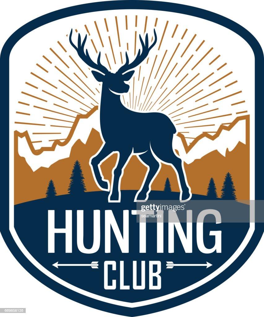 Deer hunting heraldic badge for hunt club design