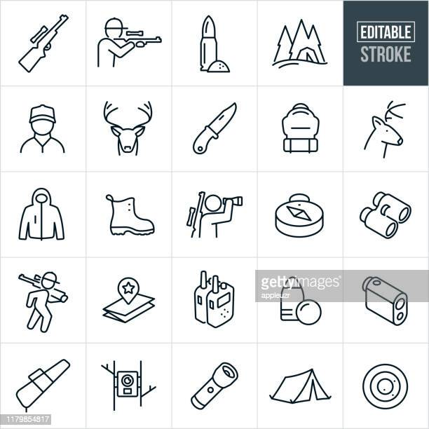 deer hunting thin line icons - editable stroke - male animal stock illustrations