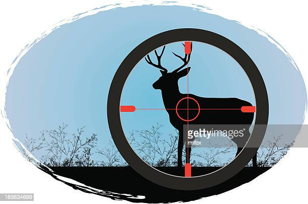 deer hunting - stag stock illustrations
