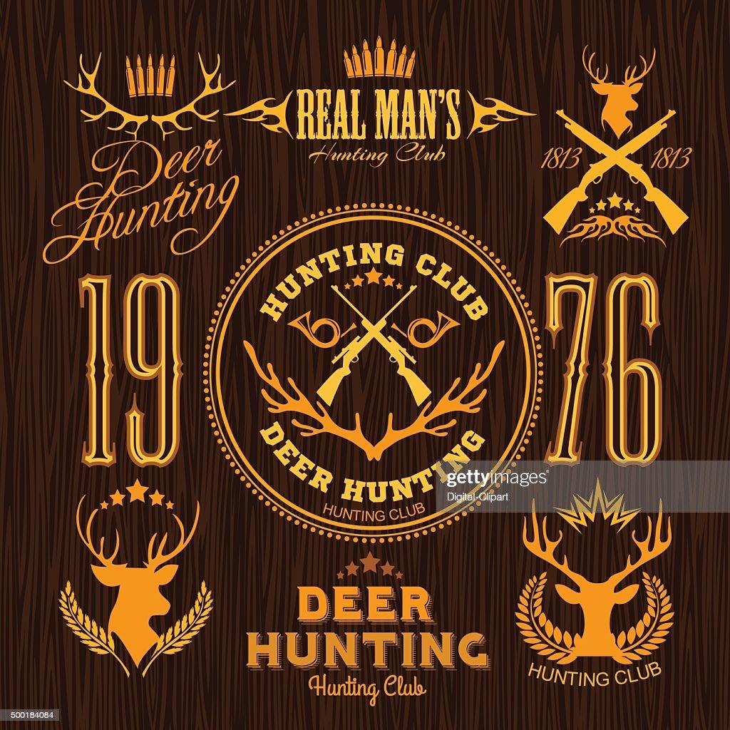 Deer Hunting - vector set for hunting emblem