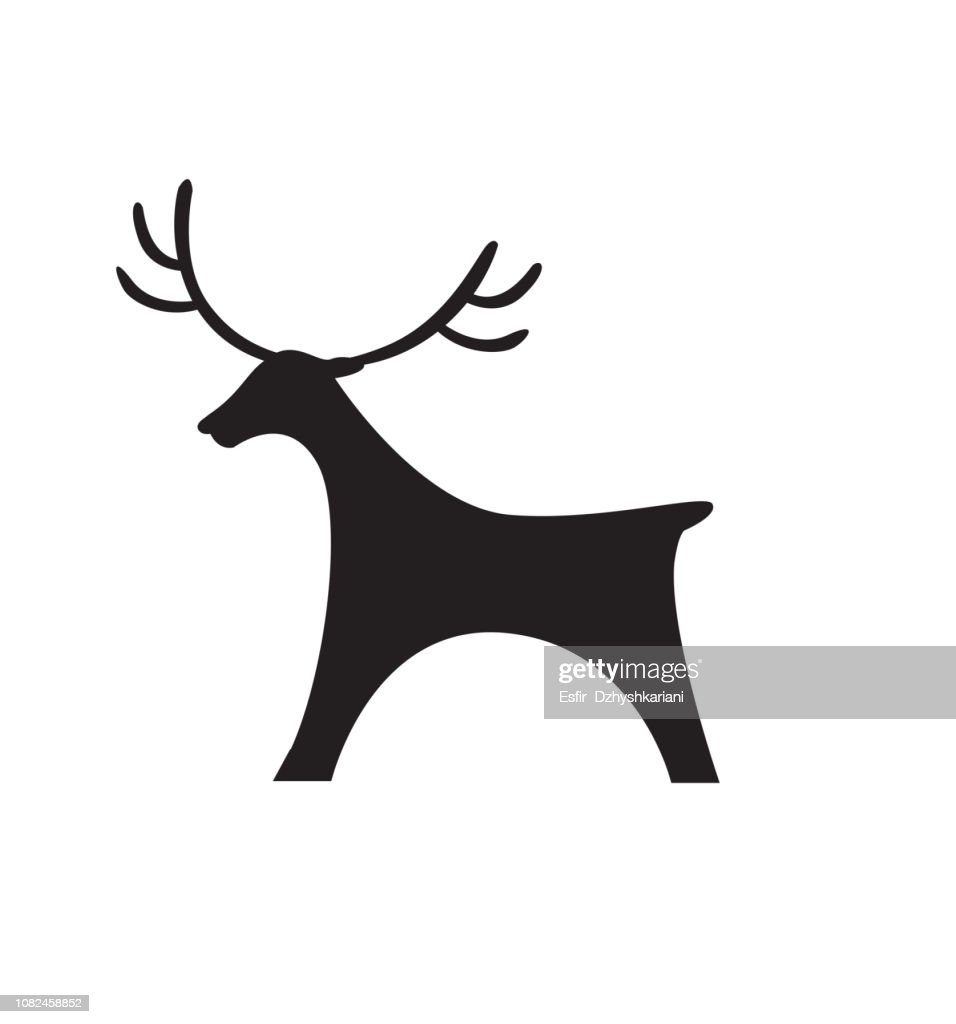Deer icon black silhouette toy flat vector illustration silhouette christmas isolated on white