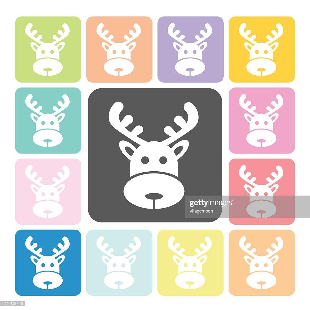 Deer Icon color set vector illustration