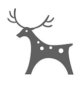 Deer icon vector illustration silhouette christmasisolated on white