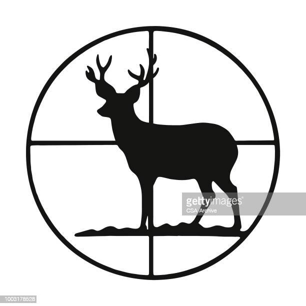 deer in crosshairs - hunting sport stock illustrations