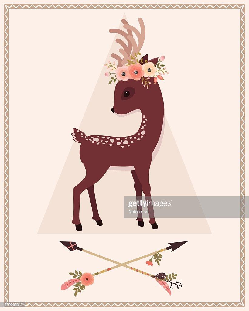 Deer in floral wreath and arrows