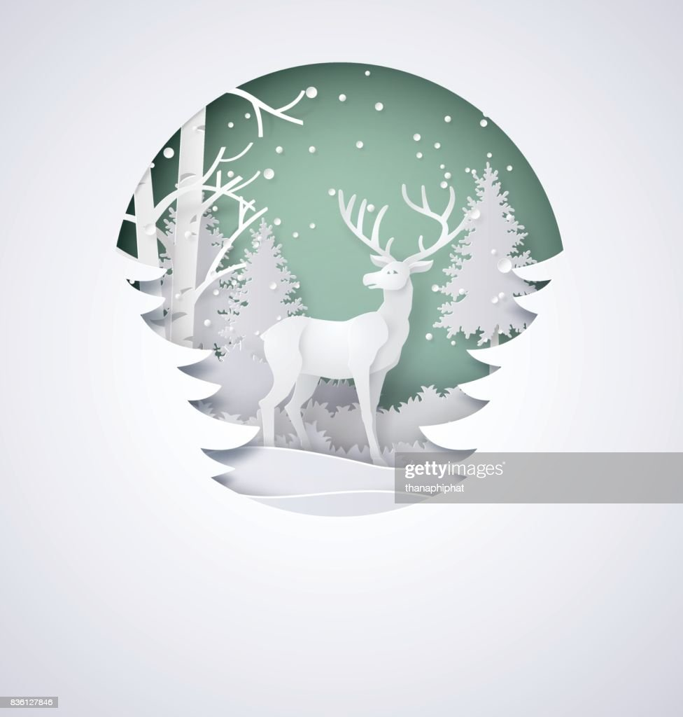 Deer in forest with snow