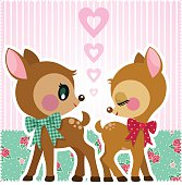 deer love cute vintage couple fawn illustration vector