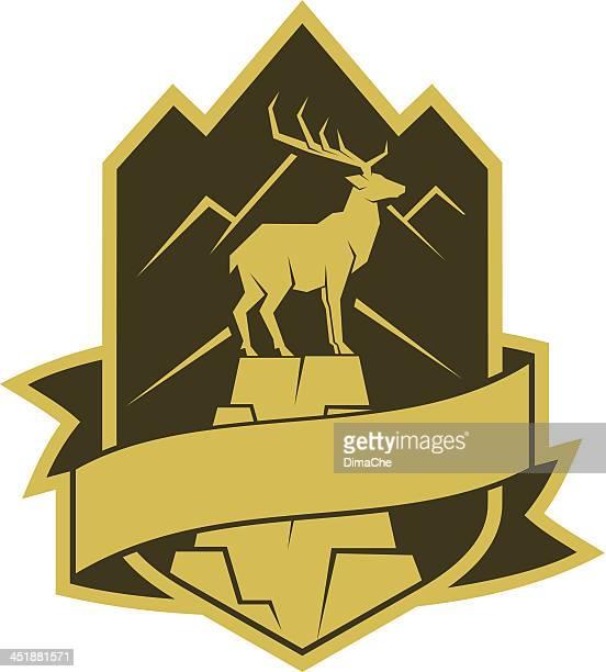 deer auf dem rock-logo - alpen stock-grafiken, -clipart, -cartoons und -symbole