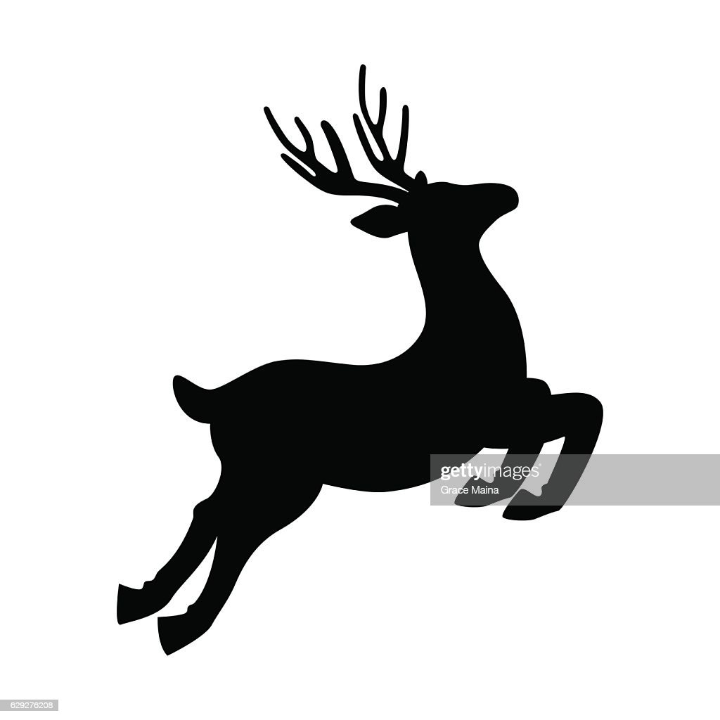 Deer Running And Jumping Illustration - VECTOR