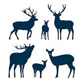 Deer silhouette set. Vector graphic