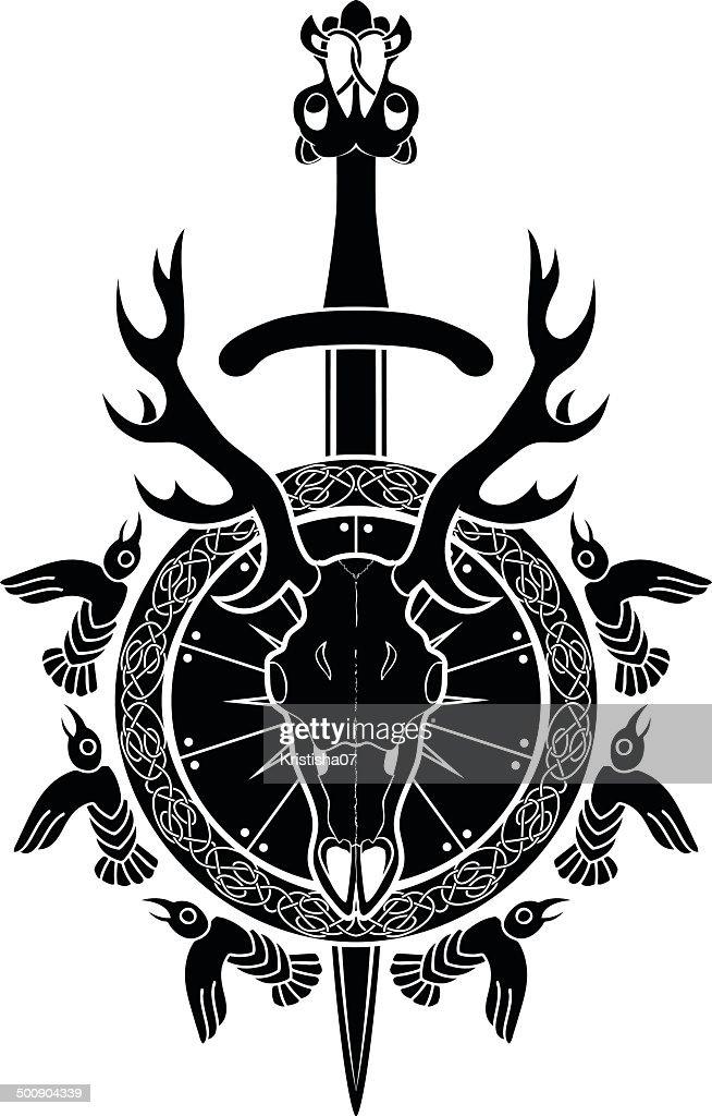 Deer skull, sword and shield
