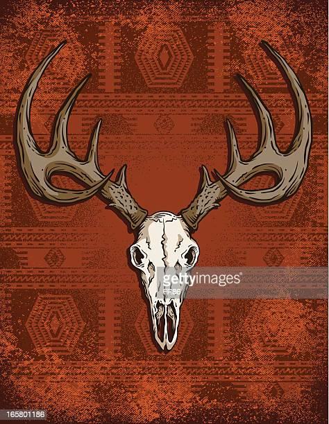 deer skull western - apache culture stock illustrations, clip art, cartoons, & icons