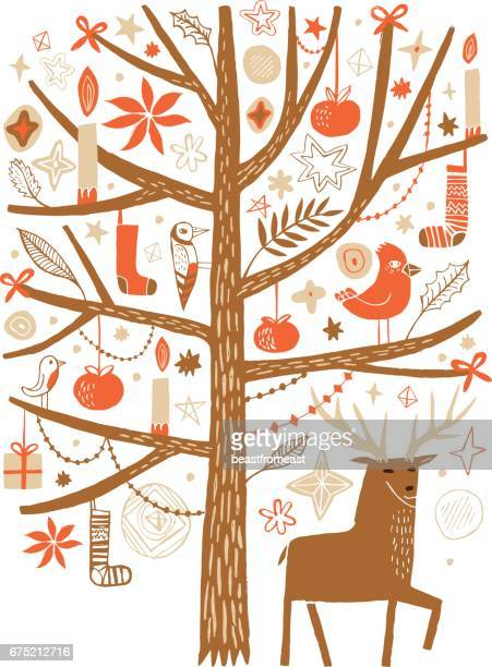 deer under the decorated festive tree - christmas travel stock illustrations, clip art, cartoons, & icons