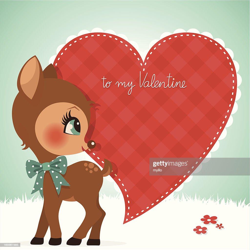 Deer Valentine Card Fawn Cute Vintage Love Illustration Vector Art