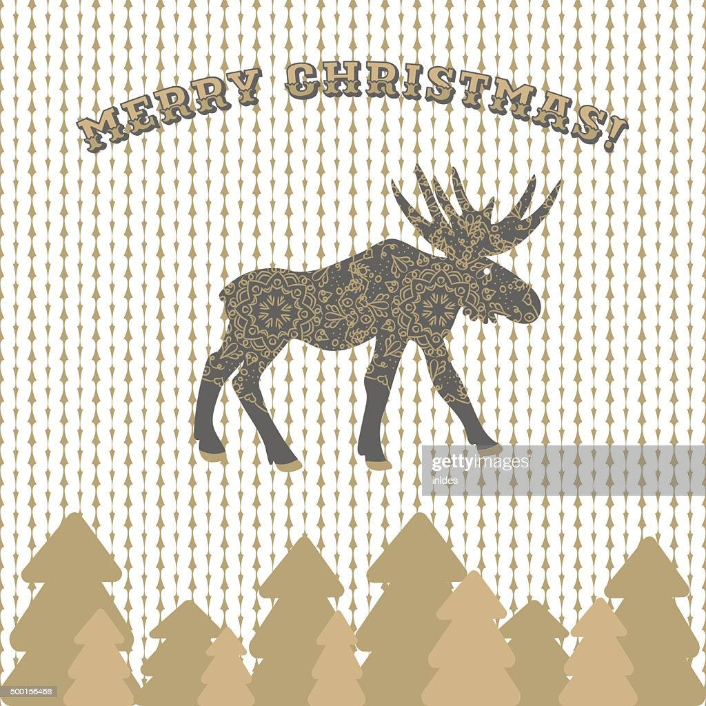 Deer vector christmas card greeting on knitted pattern