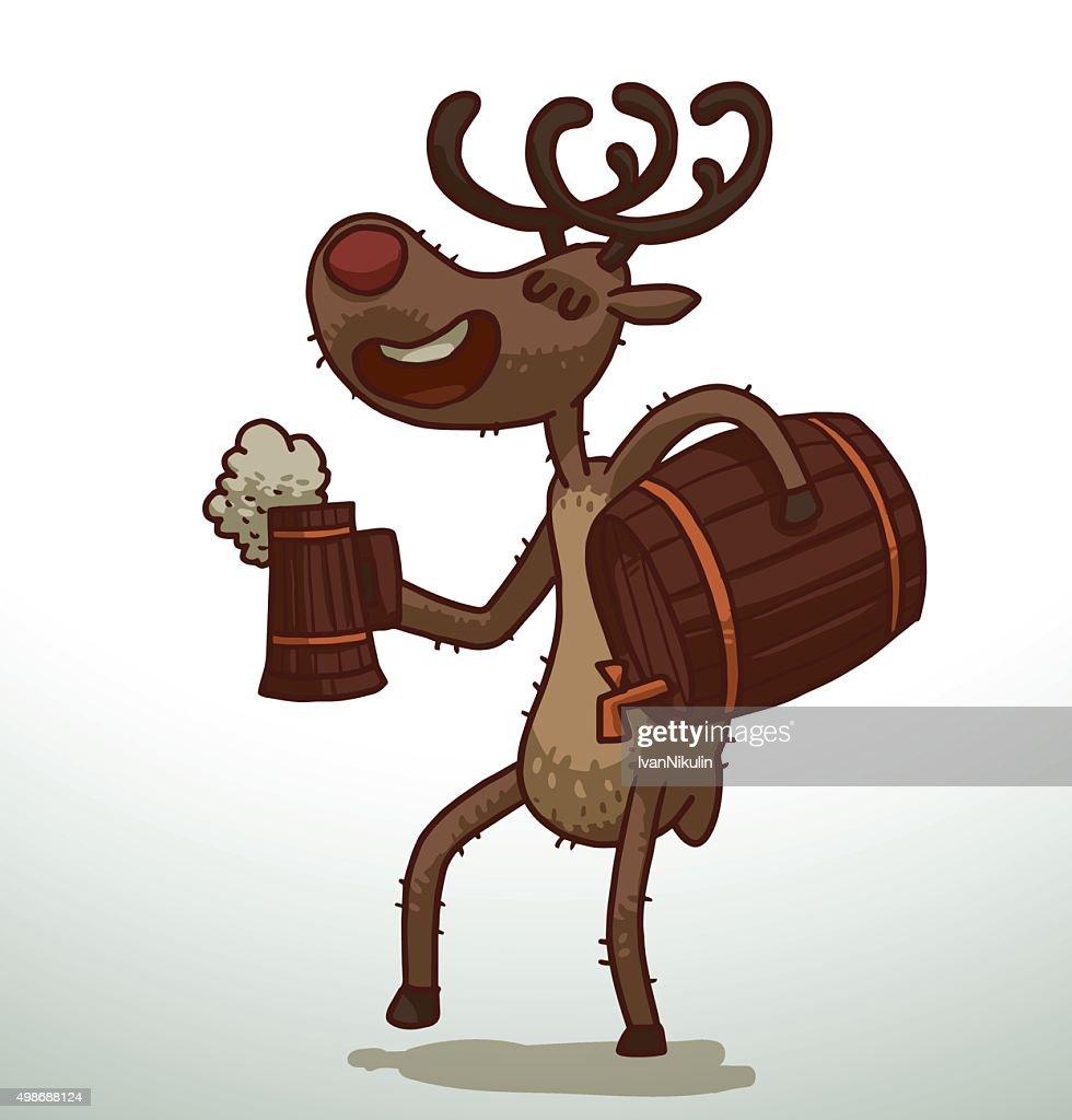 Deer with barrel of beer