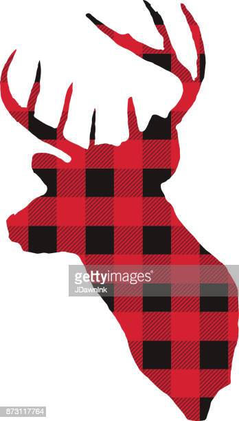 deer with plaid texture - tartan stock illustrations