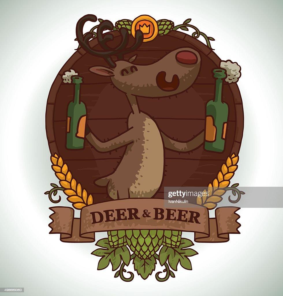 Deer with two bottles of beer, emblem