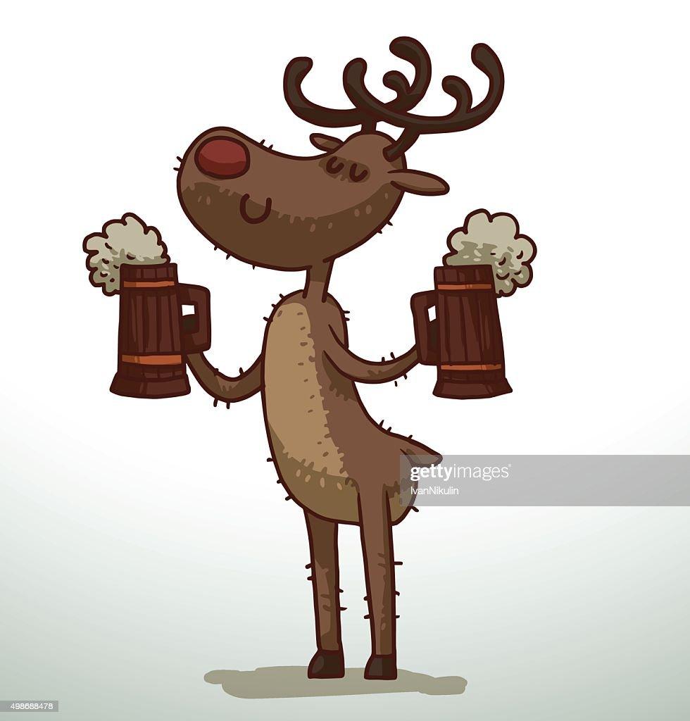 Deer with two mugs of beer