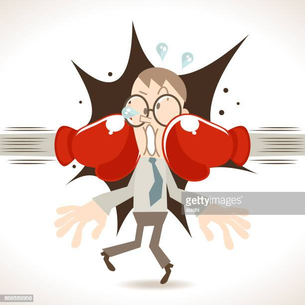 defeated businessman being hit by two huge boxing gloves - knockout stock illustrations, clip art, cartoons, & icons