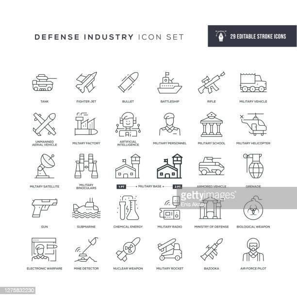 defence industry editable stroke line icons - military stock illustrations
