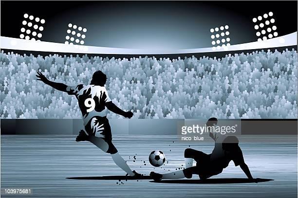 ディフェンダースライドタックル attacker でのサッカー試合 - ジャージ素材点のイラスト素材/クリップアート素材/マンガ素材/アイコン素材