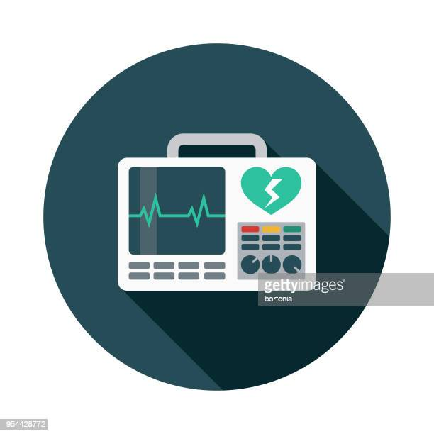 defibrillator flat design medical supplies icon with side shadow - cardiac conduction system stock illustrations