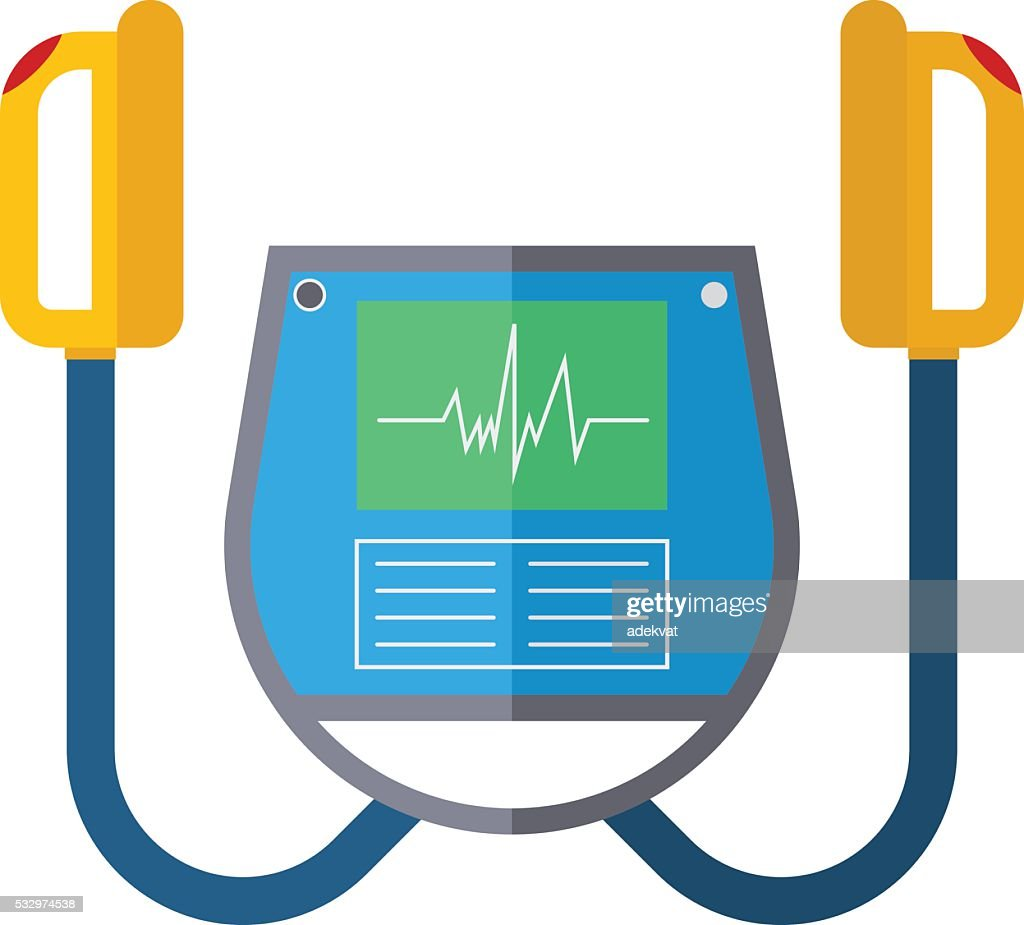 Defibrillator unit isolated medical vector icon