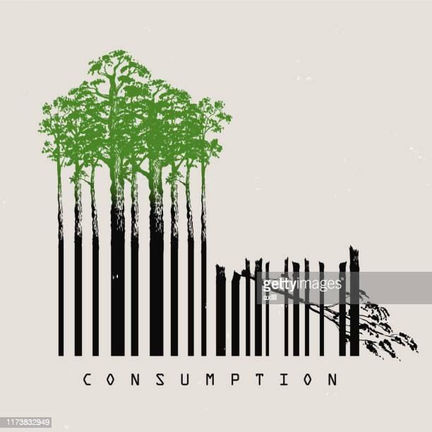 ilustrações de stock, clip art, desenhos animados e ícones de deforestation consumption - desmatamento