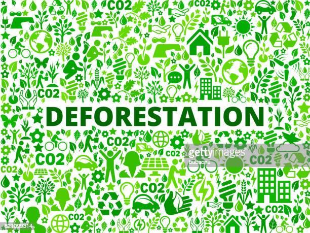 ilustrações de stock, clip art, desenhos animados e ícones de deforestation environmental conservation vector icon pattern - desmatamento