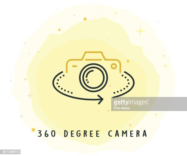 360 Degree Camera Icon with Watercolor Patch