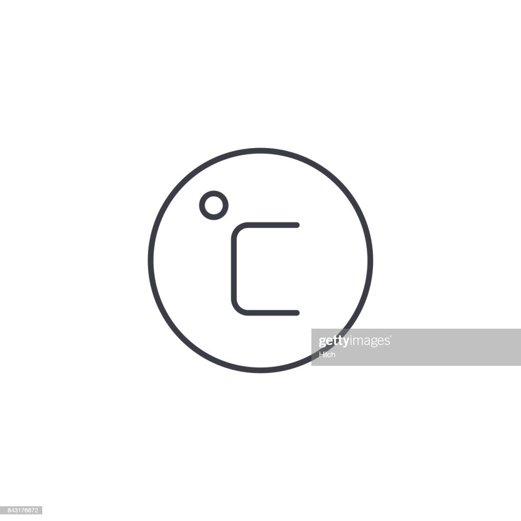 Degree Celsius Thin Line Icon Linear Vector Symbol Vector Art