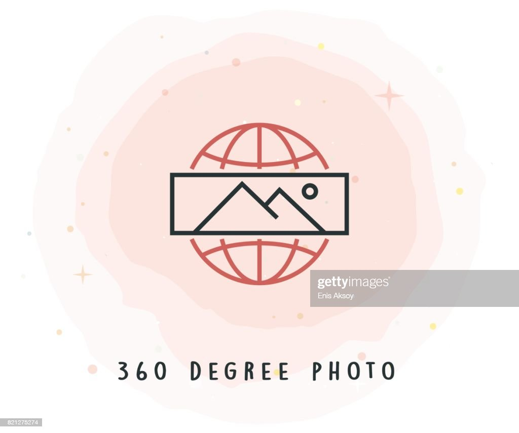 360 Degree Photo Icon With Watercolor Patch Vector Art Getty Images Degrees In A Circle Diagram