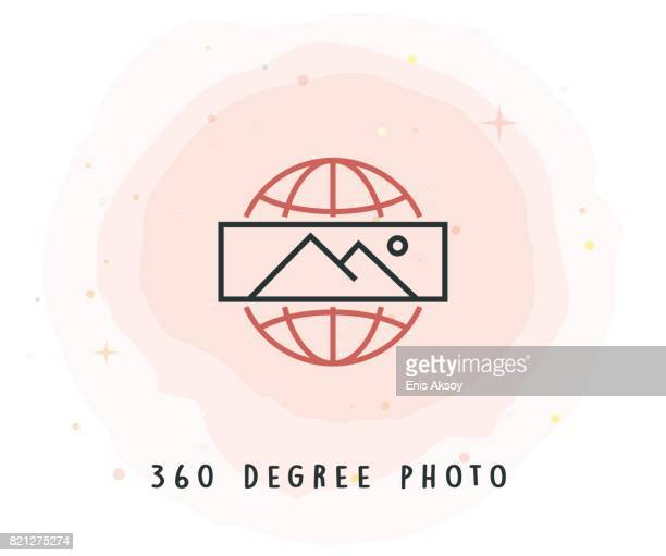 360 Degree Photo Icon with Watercolor Patch