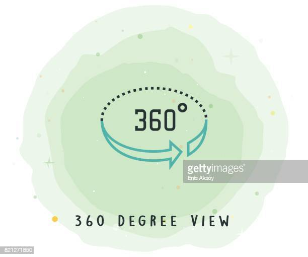 360 Degree View Icon with Watercolor Patch