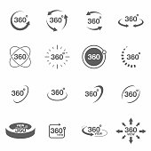360 degree view related icon set. Signs and arrows for indicate the rotation and panorama