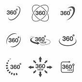 360 degree view related icon set. Signs and arrows for indicate the rotation and panorama, VR technology icons