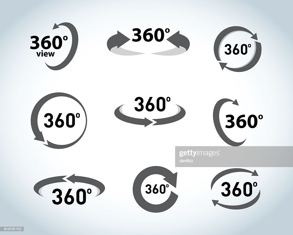 360 Degrees View flat Vector Icons.