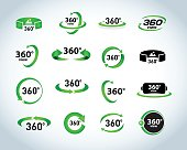 360 Degrees View Vector Icons set. Virtual reality icons.
