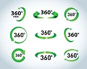 360 Degrees View Vector Icons
