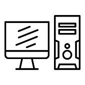 Dekstop Computer Icon, Vector Illustration, Technology Outline