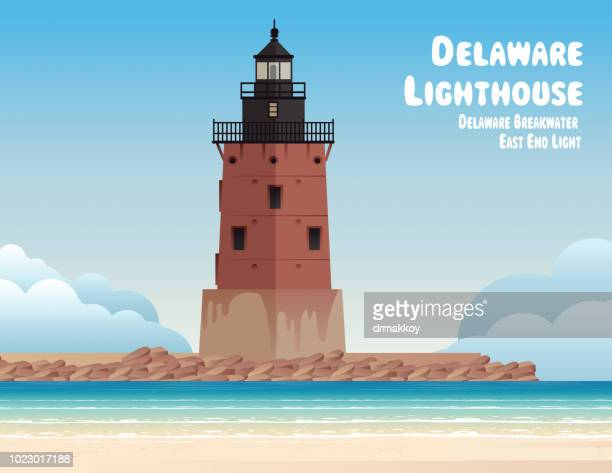 delaware breakwater east end light - delaware bay stock illustrations, clip art, cartoons, & icons