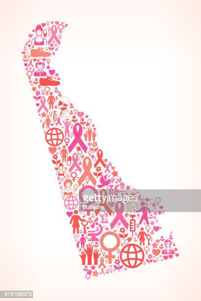delaware breast cancer awareness royalty free vector art pattern - delaware us state stock illustrations, clip art, cartoons, & icons