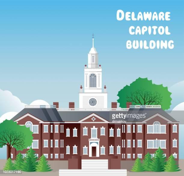 delaware capitol building - delaware bay stock illustrations, clip art, cartoons, & icons