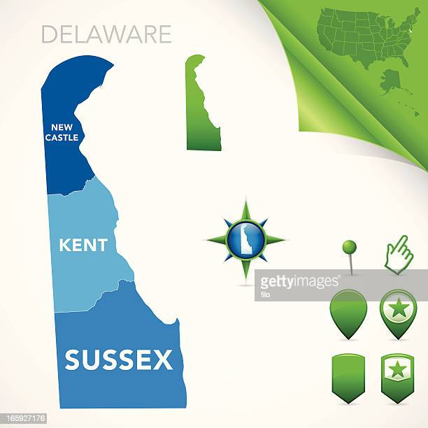 delaware county map - delaware us state stock illustrations