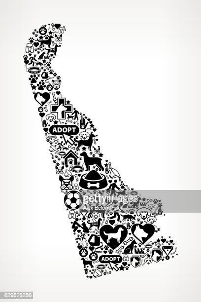 Delaware Dog and Canine Pet Black Icon Pattern
