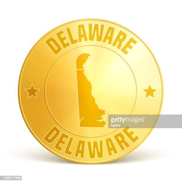 delaware - gold coin on white background - delaware us state stock illustrations