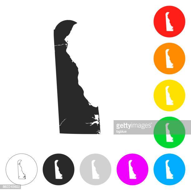 delaware map - flat icons on different color buttons - wilmington delaware stock illustrations, clip art, cartoons, & icons