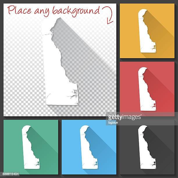 delaware map for design, long shadow, flat design - wilmington delaware stock illustrations, clip art, cartoons, & icons